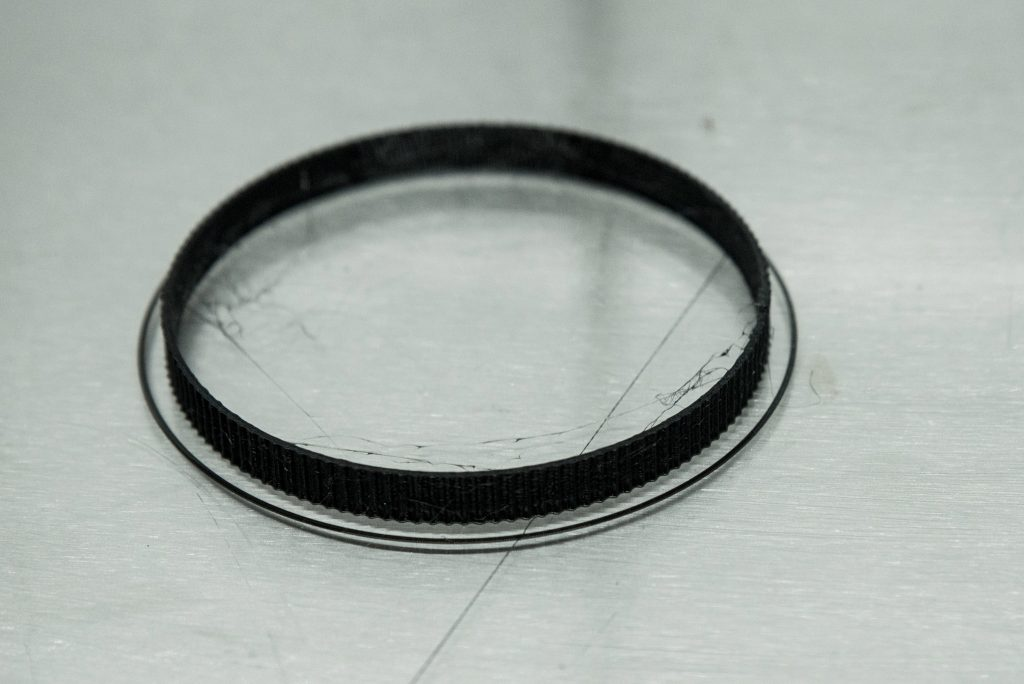 3D printed lens ring on build-plate