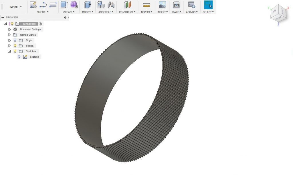 3D model of lens zoom ring in fusion360
